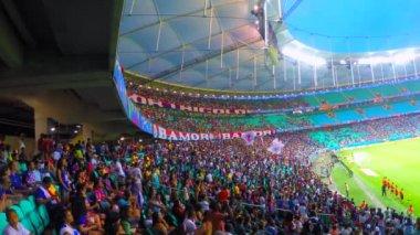 People on stadium — Stock Video