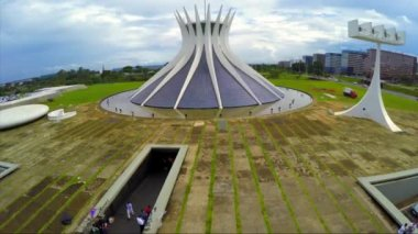 Aerial View of Famous Cathedral of Brasilia — Stock Video