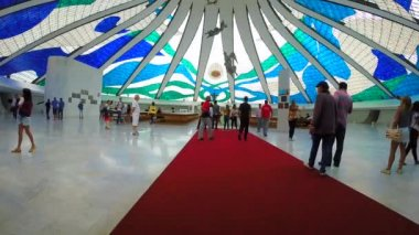 Inside of Cathedral of Brasilia — Stock Video