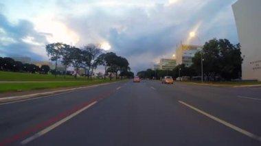 Driving around Central Brasilia city — Stock Video