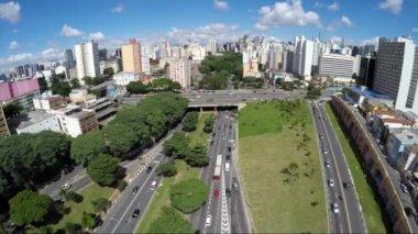 Аэрофотоснимок трафика в Сан-Пауло — Стоковое видео