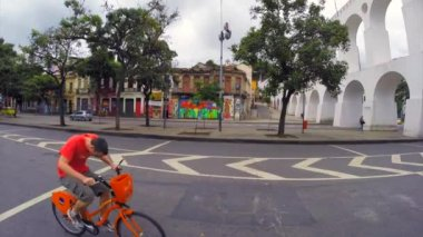 Street View of the Lapa Arch — Stock Video
