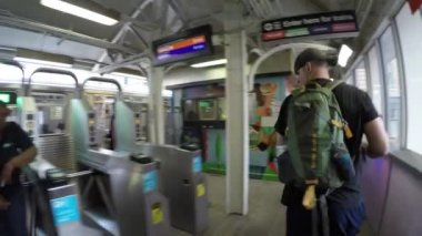 People in a rush hour on Metro train — Stock Video