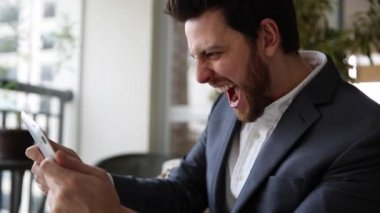 Business Man playing with tablet — Stock Video