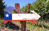 Chile Flag wooden sign — Stock Photo