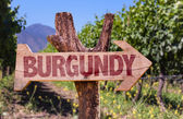 Burgundy wooden sign — Stock Photo