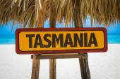Tasmania sign with beach — Stock Photo