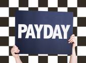 Payday card with checkered flag — Stock Photo