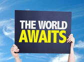 The Worlds Awaits card — Stock Photo