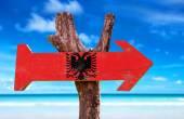 Albania Flag wooden sign — Stock Photo
