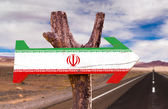 Iran  flag wooden sign — Stock Photo