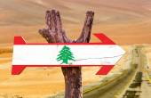 Lebanon Flag wooden sign — Stock Photo