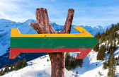Lithuania Flag wooden sign — Stock Photo