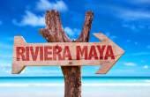 Riviera Maya wooden sign — Stock Photo