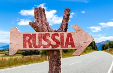 Russia wooden sign