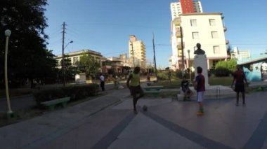 Guys Playing Soccer in Vedado — Stock Video