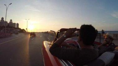 Driving classic convertible car — Stock Video