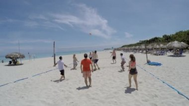 People Playing Volleyball in Coastal Beach — Stock Video