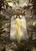 Digital painting woman sleeping nature — Foto Stock