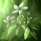 Digital panting flower leaf white — Zdjęcie stockowe