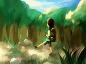 Digital painting forest travel — Stockfoto