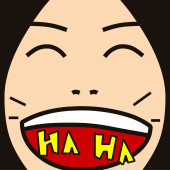 Cartoon face expression laugh — Photo
