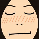 Cartoon face expression shy — Stockfoto