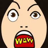 Cartoon face expression surprise — Stockfoto