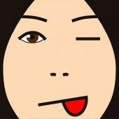 Cartoon face expression kidding — Stockfoto