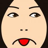 Cartoon face expression depression — Stockfoto