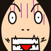 Cartoon face expression bite — Zdjęcie stockowe