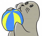 Cartoon animal expression seal play — Stockfoto