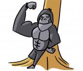 Cartoon dierlijke expressie gorilla sterke — Stockfoto