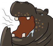 Cartoon dierlijke expressie hippo geeuw — Stockfoto