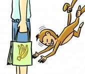 Cartoon dierlijke expressie aap stelen — Stockfoto