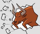 Cartoon animal expression bull attack — Stockfoto