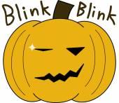 Vector pumpkin face cartoon emotion expression blink — Stock Vector