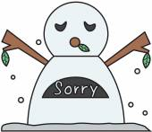 Vector winter snowman face cartoon emotion expression regret — Stock Vector