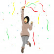 Woman pose celebrate coat happy smile action party confetti — Stock Photo #60712033