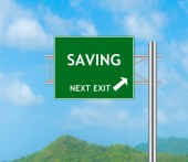 Road Sign concept to Saving — Stock Photo