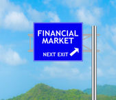 Road Sign concept to FINANCIAL MARKET — Stock Photo