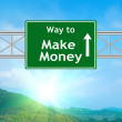 Make money Green Road Sign — Stock Photo #58248867