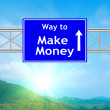 Make money Blue Road Sign — Stock Photo #58249859
