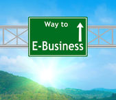 E-Business Green Road Sign — Stock Photo