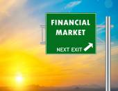 Financial Market Green Road Sign — Stock Photo