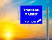 Financial Market Blue Road Sign — Stock Photo