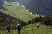 Tourists descend from the mountains — Stock Photo