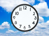 Clock with no hands in cloud — Stock Photo