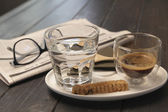 Cup of espresso and biscotti — Stock Photo