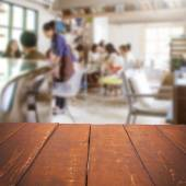 Empty table and blurred people in cafe background, product displ — Stock Photo